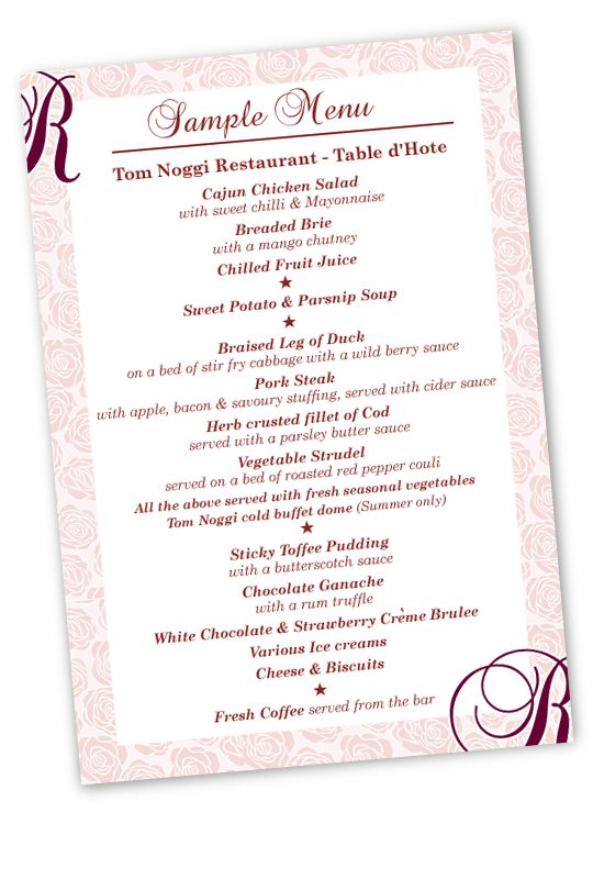 sample menu card of table d hote