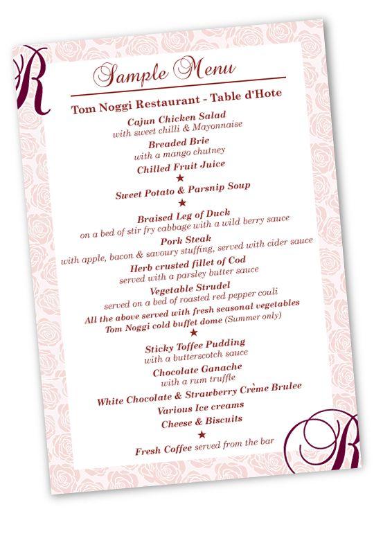 sample menu card of table d hote